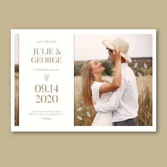 Hochzeitseinladungsdesign mit foto