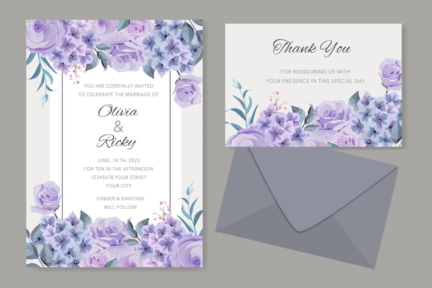 Hochzeitseinladungsdesign mit hortensienblüten