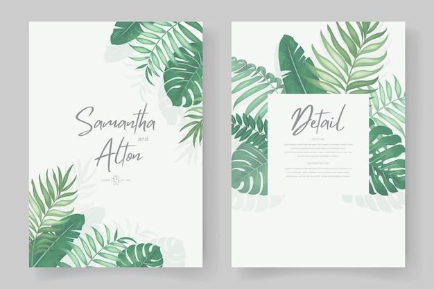 Hochzeitseinladungsdesign mit tropischem blattthema
