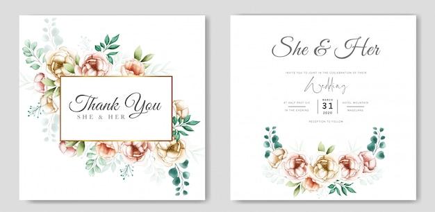 Hochzeitseinladungsentwurf mit dem aquarell mit blumen und blättern