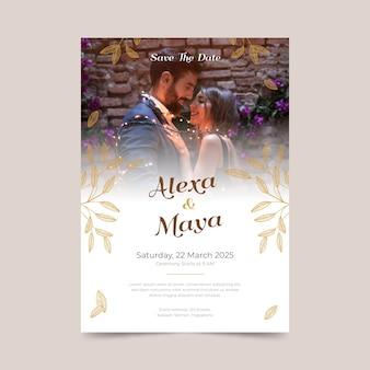 Hochzeitseinladungsentwurf mit foto