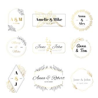 Hochzeitseinladungsetiketten. minimalistische blumenblätter rahmen, elegante goldene hochzeitskarte und save the date gold label set