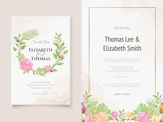 Hochzeitseinladungskarte blumen und blätter
