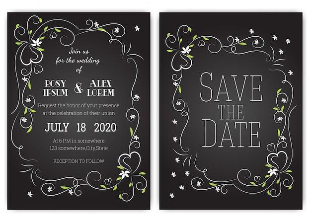 Hochzeitseinladungskarte blumenhand gezeichneter rahmen.