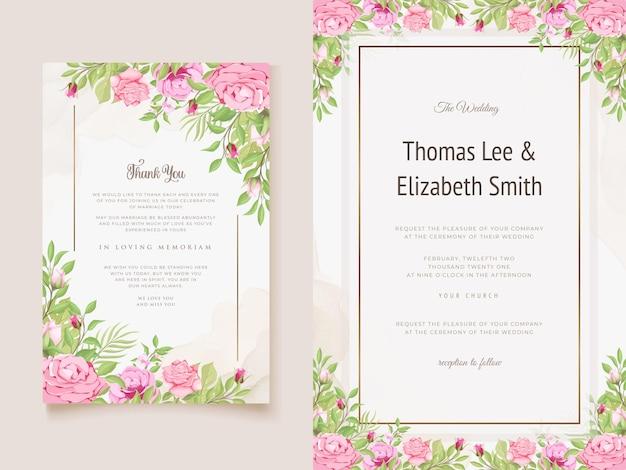 Hochzeitseinladungskarte blumenvektorschablone