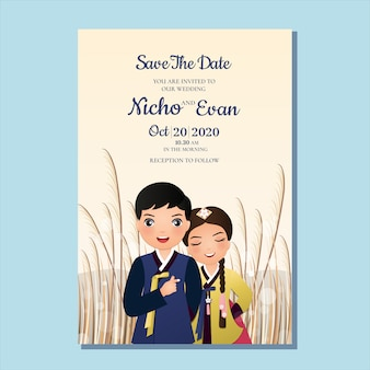 Hochzeitseinladungskarte das niedliche paar der braut und des bräutigams in der traditionellen hanbokkleidkarikaturfigur von südkorea. landschaft schöner hintergrund