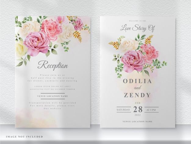 Hochzeitseinladungskarte der rosa und gelben blumen