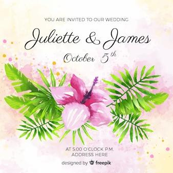 Hochzeitseinladungskarte des aquarells tropische