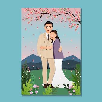 Hochzeitseinladungskarte die braut und bräutigam niedlichen paar karikatur mit fröhlicher blüte voller blüte