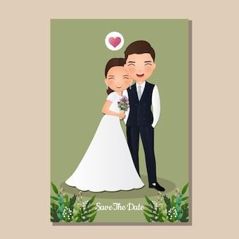 Hochzeitseinladungskarte die braut und bräutigam niedlichen paar zeichentrickfigur. illustration