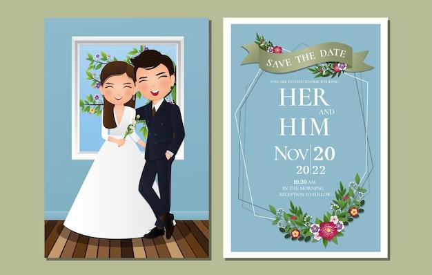 Hochzeitseinladungskarte die niedliche paarkarikaturfigur der braut und des bräutigams mit blumen, die voll blühen