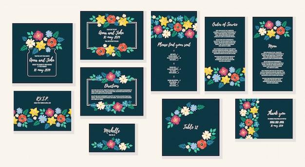 Hochzeitseinladungskarte eingestellt mit flachem blumenrahmenhintergrund. vektor-illustration