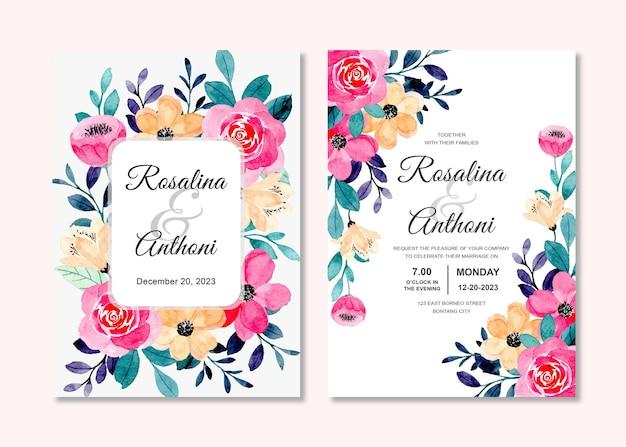 Hochzeitseinladungskarte eingestellt mit rosa pfirsichblumenaquarell