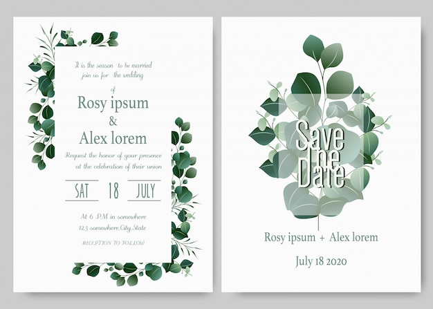 Hochzeitseinladungskarte floral hand gezeichneten rahmen