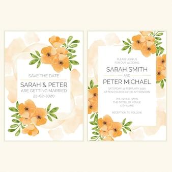 Hochzeitseinladungskarte mit aquarell blumendekoration