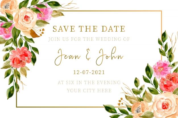 Hochzeitseinladungskarte mit aquarell mit blumen