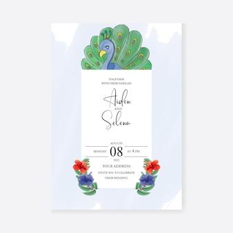 Hochzeitseinladungskarte mit aquarell pfau premium-vektor