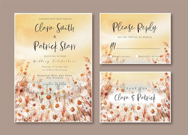 Hochzeitseinladungskarte mit aquarell-warmer gänseblümchenlandschaft