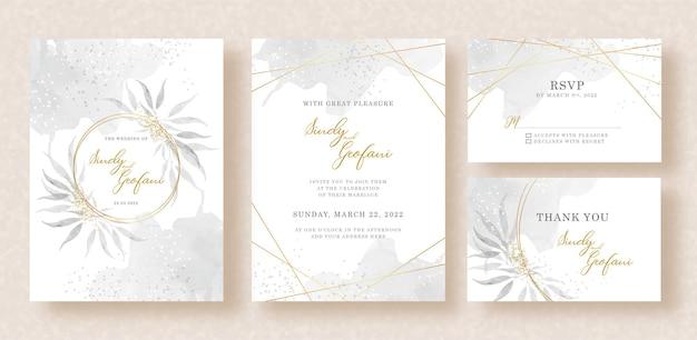 Hochzeitseinladungskarte mit aquarellblättern und spritzhintergrundschablone