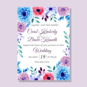 Hochzeitseinladungskarte mit aquarellblume