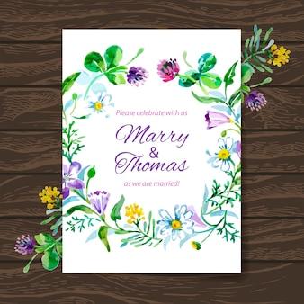 Hochzeitseinladungskarte mit aquarellblumenstrauß. vektorhintergrund