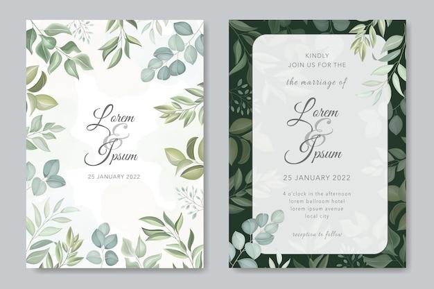 Hochzeitseinladungskarte mit blättern