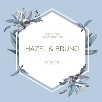 Hochzeitseinladungskarte mit blauem blatt entwerfen vektor