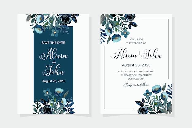 Hochzeitseinladungskarte mit blauem blumenaquarell