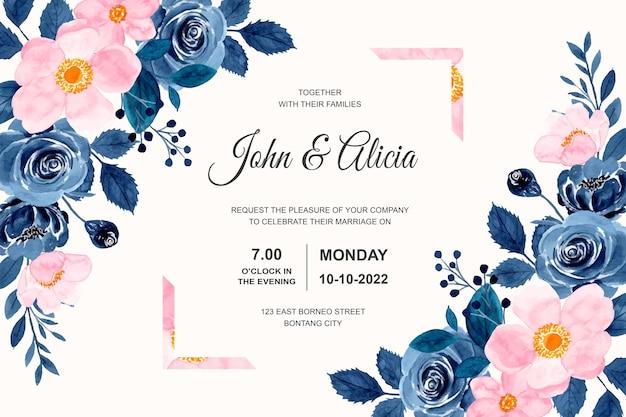 Hochzeitseinladungskarte mit blauem rosa blumenaquarell