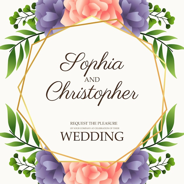 Hochzeitseinladungskarte mit blumen rosa und lila illustration