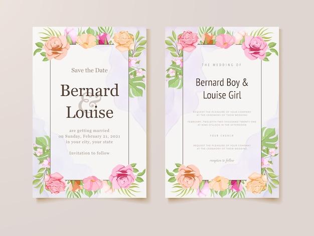 Hochzeitseinladungskarte mit blumen und blättern