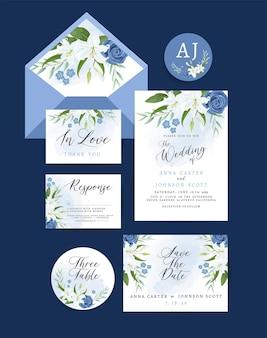 Hochzeitseinladungskarte mit blumen- und blattdekoration