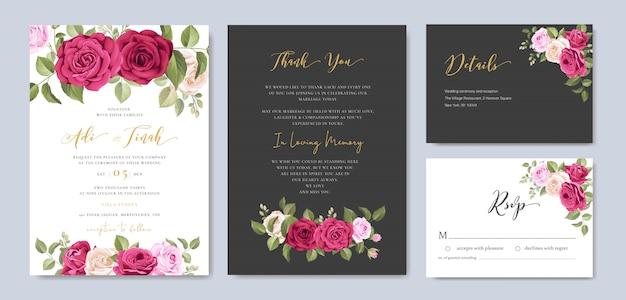 Hochzeitseinladungskarte mit blumen- und blattrahmenschablone