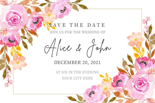 Hochzeitseinladungskarte mit blumenaquarell