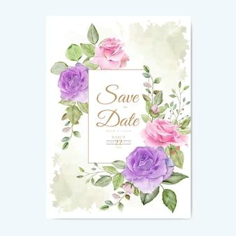 Hochzeitseinladungskarte mit blumenblättern aquarell
