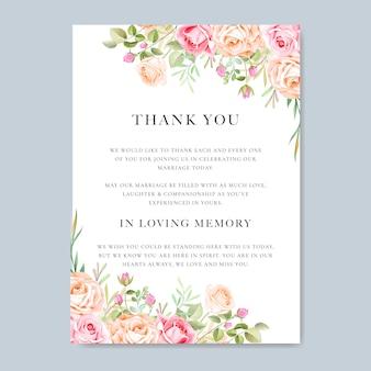 Hochzeitseinladungskarte mit buntem blumen und blättern