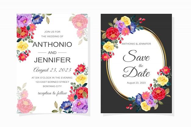 Hochzeitseinladungskarte mit buntem blumenaquarell