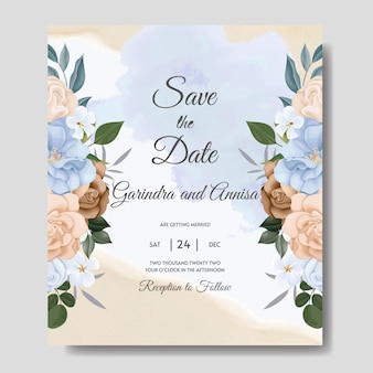 Hochzeitseinladungskarte mit bunten blauen und braunen blumen und verlässt premium-vektor