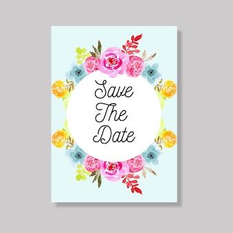 Hochzeitseinladungskarte mit dem bunten aquarell mit blumen