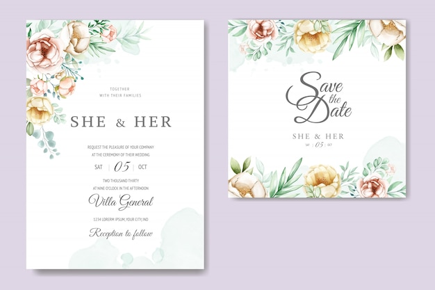 Hochzeitseinladungskarte mit dem schönen aquarell mit blumen und blättern