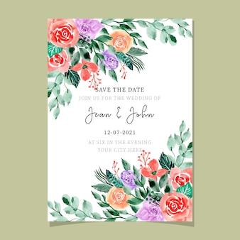 Hochzeitseinladungskarte mit dem schönen aquarell mit blumen