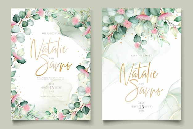 Hochzeitseinladungskarte mit eukalyptusblüten