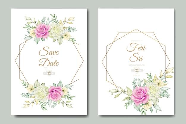 Hochzeitseinladungskarte mit floralen blättern aquarellvorlage