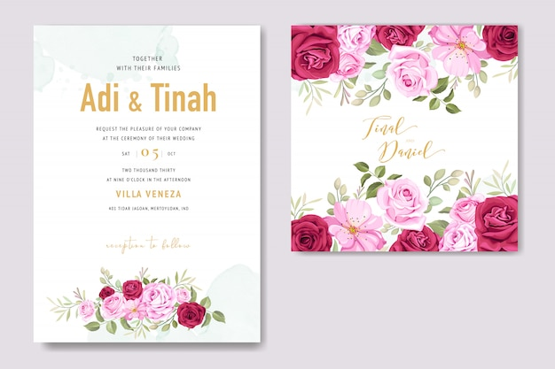 Hochzeitseinladungskarte mit floralen elementen