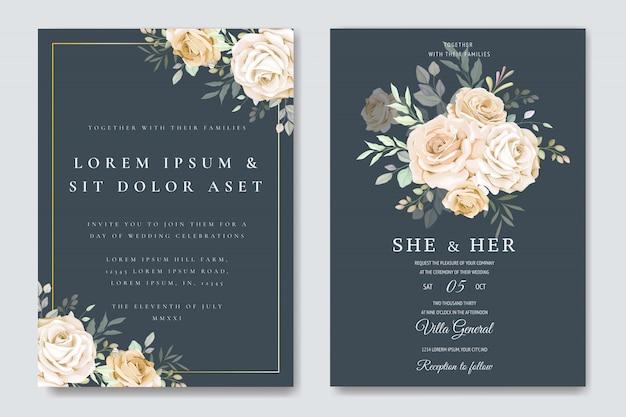 Hochzeitseinladungskarte mit floralen vorlage
