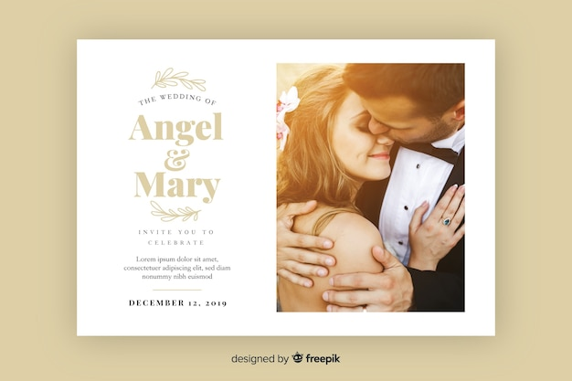 Hochzeitseinladungskarte mit foto