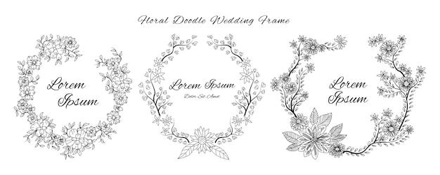 Hochzeitseinladungskarte mit gekritzelskizzenentwurfsblumen- und -blumenornamentaldesign-artschablone