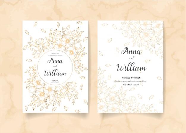 Hochzeitseinladungskarte mit goldenen blumen, blättern und niederlassungen