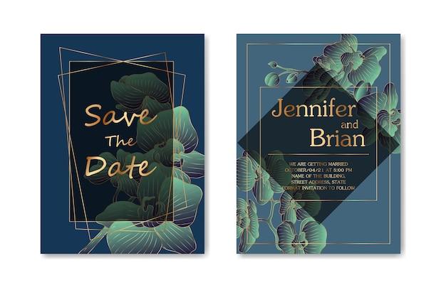 Hochzeitseinladungskarte mit grünem aquarellzweigblatt und goldrahmen im minimalistischen stil