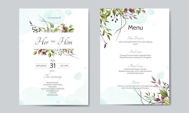 Hochzeitseinladungskarte mit grünen blättern vorlage